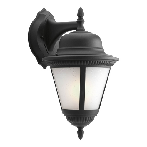Progress Lighting Outdoor Wall Light with White Glass in Black Finish P5864-31WB
