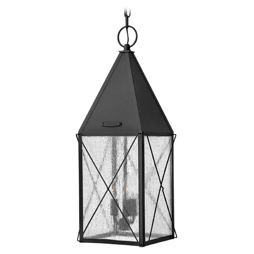 Hinkley Lighting Outdoor Hanging Light with Clear Glass in Black Finish 1842BK
