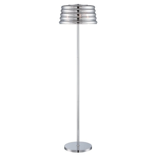 Lite Source Lighting Lite Source Venice Chrome Floor Lamp with Fluted Shade EL-90135