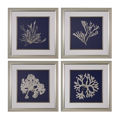 Sterling Lighting Seaweed On Navy I, II, III, IV - Fine Art Giclee Under Glass 151-021/S4