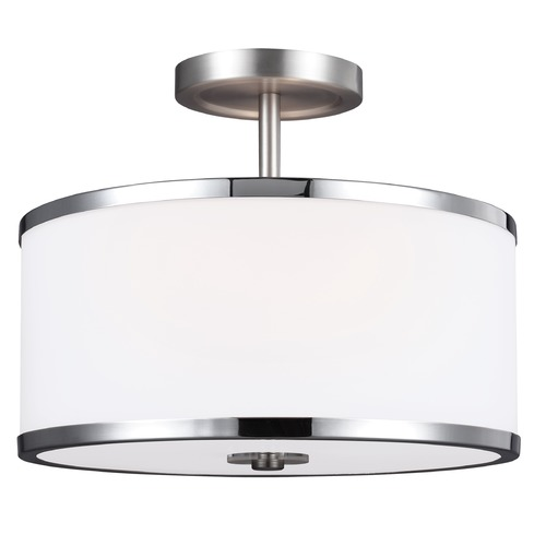 Feiss Lighting Feiss Lighting Prospect Park Satin Nickel / Chrome Semi-Flushmount Light SF335SN/CH