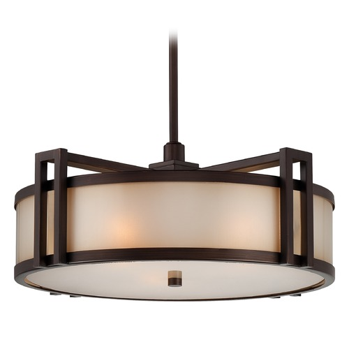 Metropolitan Lighting Underscore Cimmaron Bronze Pendant Light with Drum Shade N6966-1-267B