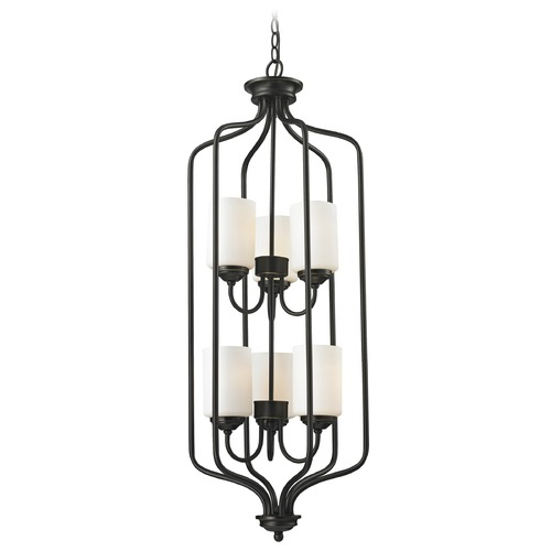 Z-Lite Z-Lite Cardinal Olde Bronze Pendant Light with Cylindrical Shade 414-40