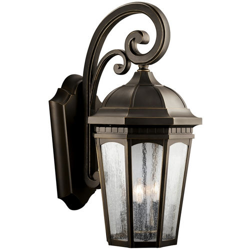 Kichler Lighting Kichler Outdoor Wall Light with Clear Glass in Rubbed Bronze Finish 9035RZ