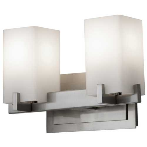 Feiss Lighting Modern Bathroom Light with White Glass in Brushed Steel Finish VS18402-BS