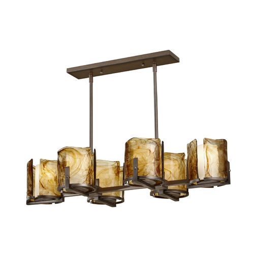 Feiss Lighting Feiss Modern 6-Light Chandelier with Art Glass in Roman Bronze F2690/6RBZ