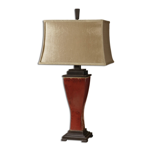 Uttermost Lighting Table Lamp with Beige / Cream Shade in Red Glaze Finish 26740
