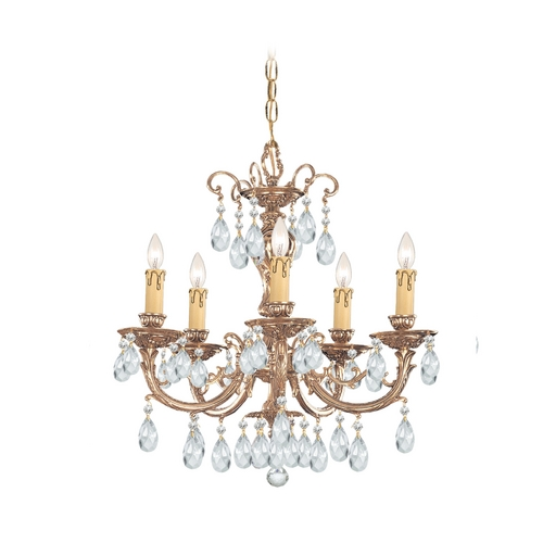 Crystorama Lighting Crystal Mini-Chandelier in Olde Brass Finish 495-OB-CL-MWP
