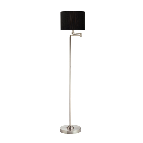 Design Classics Lighting Swing Arm Floor Lamp with Black String Drum Lamp Shade 1901-09 SH9533