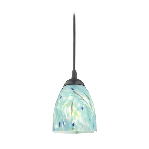 Design Classics Lighting Black Mini-Pendant Light with Turquoise Art Glass Shade 582-07  GL1021MB