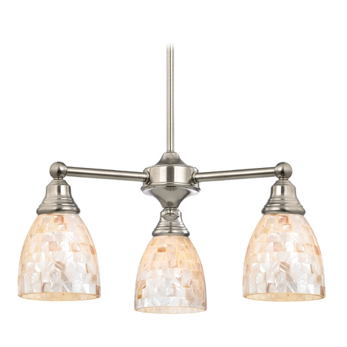 Design Classics Lighting Mini-Chandelier with Mosaic Glass in Satin Nickel Finish 598-09 GL1026MB
