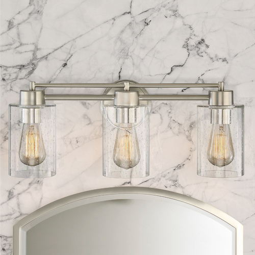 Design Classics Lighting Seeded Glass 3-Light Bathroom Light in Satin Nickel 703-09 GL1041C