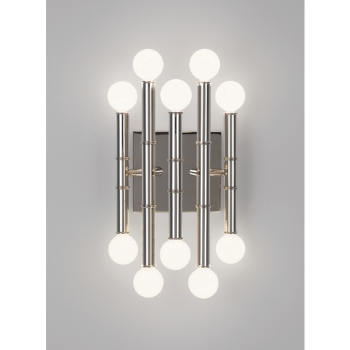 Robert Abbey Lighting Mid-Century Modern Sconce Polished Nickel Jonathan Adler Meurice by Robert Abbey S686
