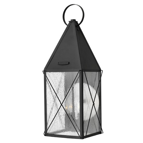 Hinkley Lighting Outdoor Wall Light with Clear Glass in Black Finish 1845BK