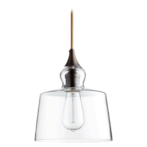 Quorum Lighting Quorum Lighting Oiled Bronze W/ Clear Mini-Pendant Light with Drum Shade 8001-86