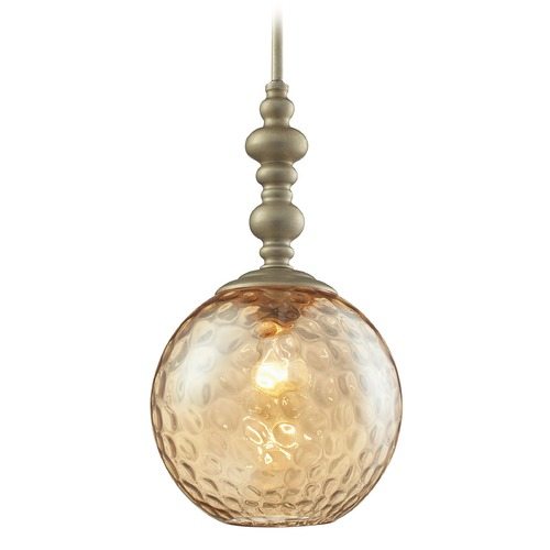 Elk Lighting Elk Lighting Watersphere Aged Silver Mini-Pendant Light with Globe Shade 31381/1AGS