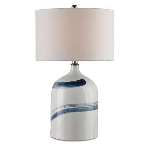 Currey and Company Lighting Currey and Company Essay Bone White/blue Table Lamp with Drum Shade 6947