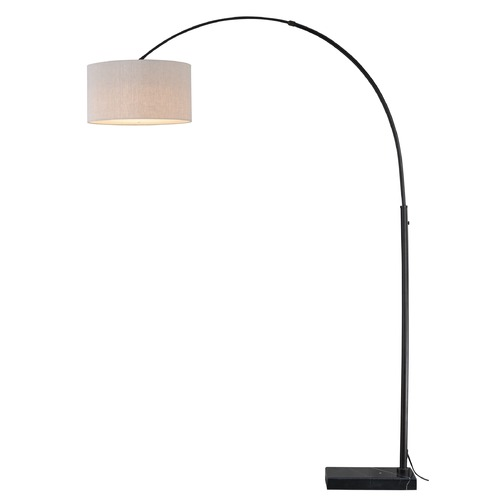 Vaxcel Lighting Luna Oil Rubbed Bronze LED Arc Lamp with Drum Shade by Vaxcel Lighting L0004