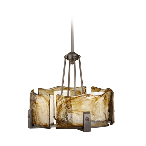 Feiss Lighting Feiss Modern 4-Light Chandelier with Art Glass in Roman Bronze F2691/4RBZ