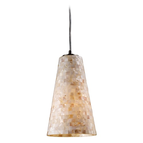 Elk Lighting Modern Mini-Pendant Light with Beige / Cream Glass 10142/1
