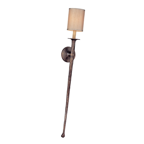 Troy Lighting Sconce Wall Light with Beige / Cream Shade in Pompeii Bronze Finish B2903