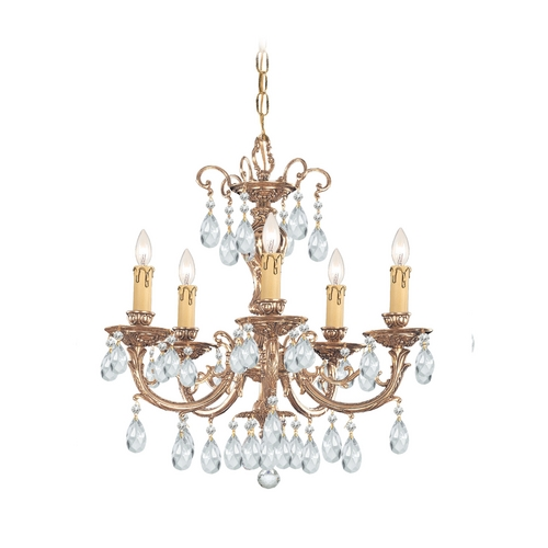 Crystorama Lighting Crystal Mini-Chandelier in Olde Brass Finish 495-OB-CL-S