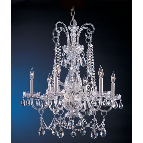 Crystorama Lighting Crystal Chandelier in Polished Chrome Finish 1030-CH-CL-SAQ