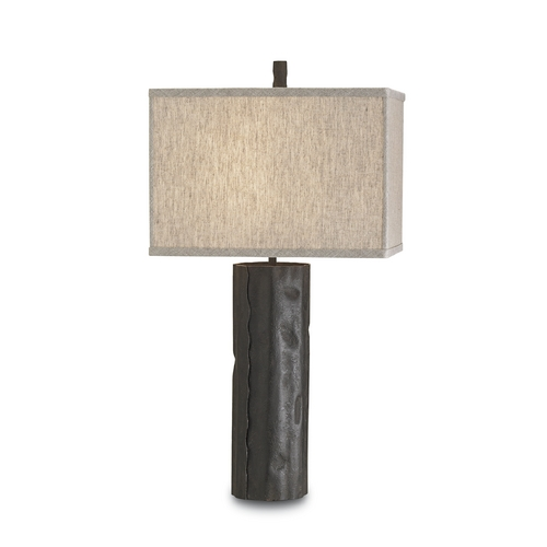 Currey and Company Lighting Modern Table Lamp with Beige / Cream Shade in Mole Black Finish 6868