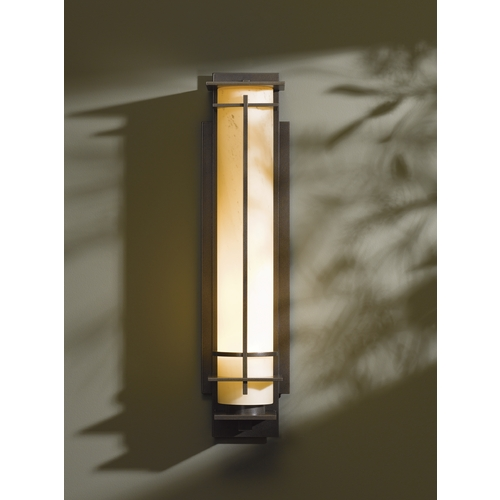 Hubbardton Forge Lighting Outdoor Wall Light with White Glass in Dark Smoke Opaque Finish 307861-17-H189