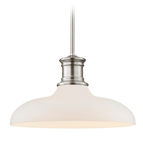 Design Classics Lighting Satin Nickel Pendant Light with White Glass 14-Inch Wide 1761-09 G1784-WH