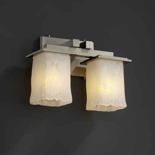 Justice Design Group Justice Design Group Veneto Luce Collection Brushed Nickel Bathroom Light GLA-8672-26-WHTW-NCKL