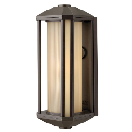 Hinkley Lighting Outdoor Wall Light with Amber Glass in Bronze Finish 1395BZ