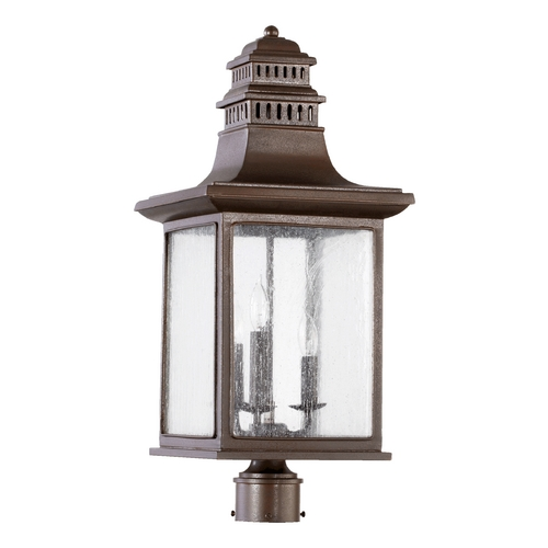 Quorum Lighting Seeded Glass Post Light Oiled Bronze Quorum Lighting 7046-3-86