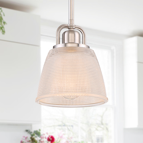 Quoizel Lighting Quoizel Lighting Prismatic Glass Brushed Nickel Mini-Pendant Light with Bowl / Dome Shade DBN1506BN