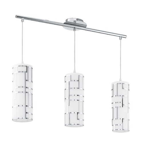 Eglo Lighting Eglo Bayman Chrome Multi-Light Pendant with Cylindrical Shade 92563A