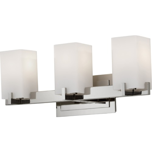 Feiss Lighting Modern Bathroom Light with White Glass in Polished Nickel Finish VS18403-PN