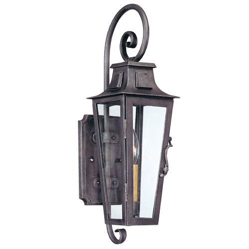 Troy Lighting Outdoor Wall Light with Clear Glass in Aged Pewter Finish B2961