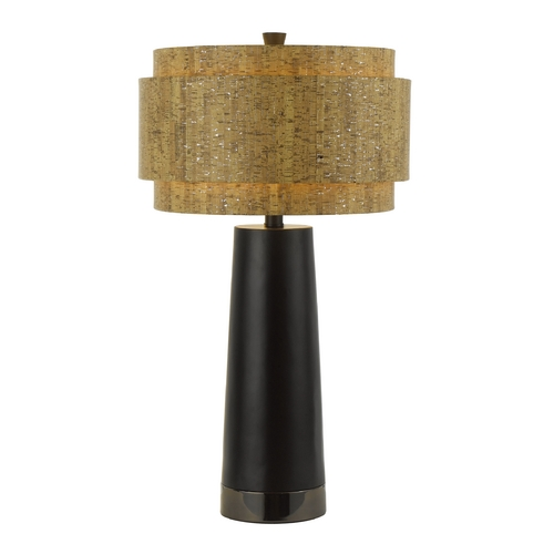 AF Lighting Modern Table Lamp with Brown Cork Shade in Black Pearl Finish 8427-TL