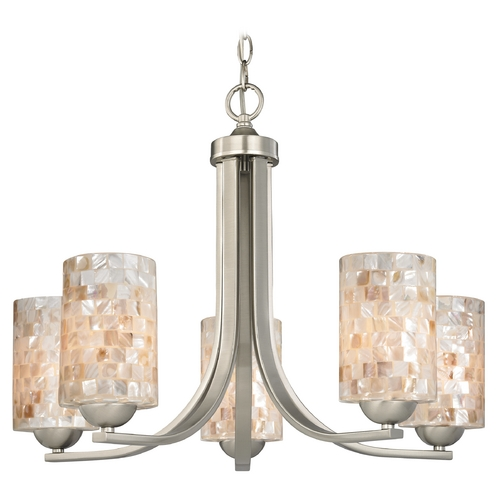 Design Classics Lighting Chandelier with Mosaic Glass in Satin Nickel Finish 584-09 GL1026C