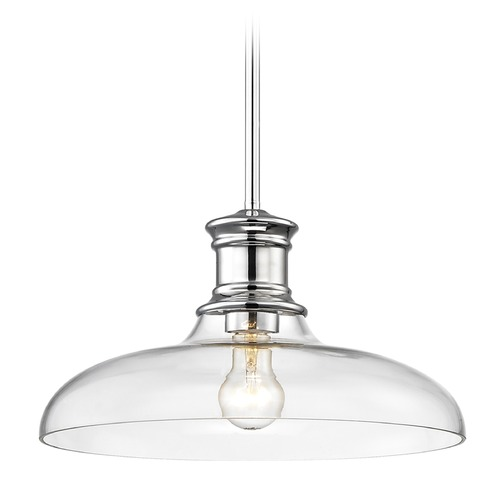 Design Classics Lighting Nautical Pendant Light Chrome with Clear Glass 14-Inch Wide 1761-26 G1784-CL
