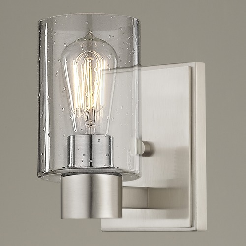 Design Classics Lighting Seeded Glass Sconce Satin Nickel 2101-09 GL1041C