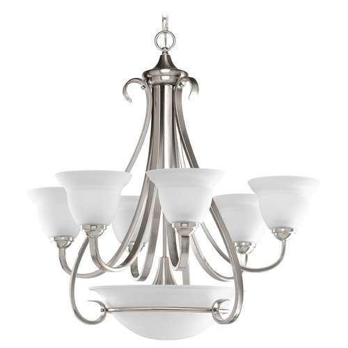 Progress Lighting Progress Chandelier with White Glass in Brushed Nickel Finish P4417-09