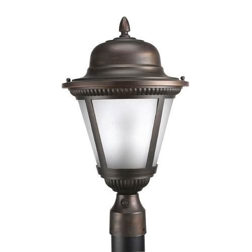 Progress Lighting Post Light with White Glass in Antique Bronze Finish P5434-20EB