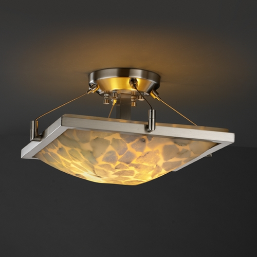 Justice Design Group Justice Design Group Alabaster Rocks! Collection Semi-Flushmount Light ALR-9780-25-NCKL