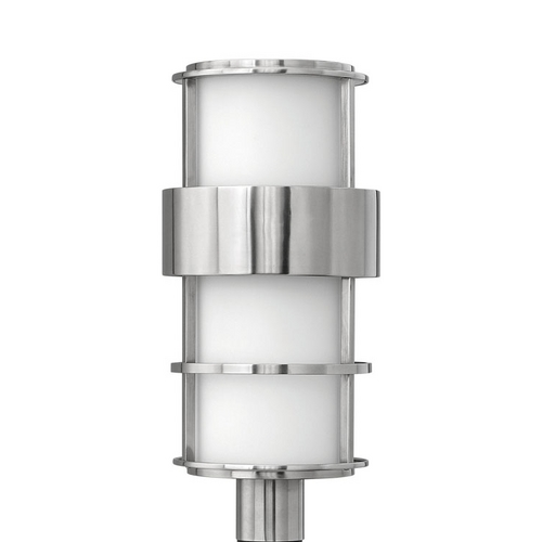 Hinkley Lighting Modern Post Light with White Glass in Stainless Steel Finish 1901SS