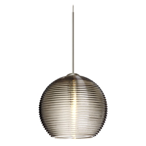 Besa Lighting Besa Lighting Kristall Satin Nickel LED Mini-Pendant Light with Globe Shade 1XT-461502-LED-SN