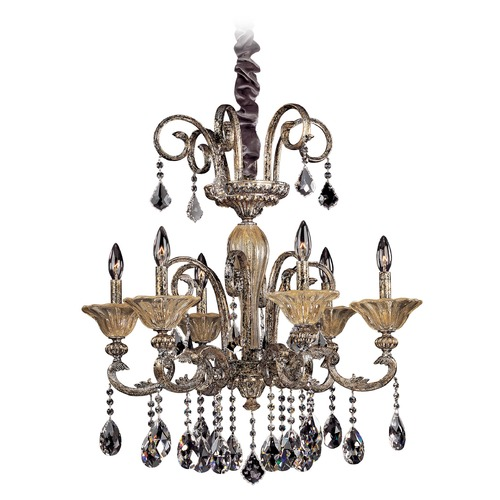 Allegri Lighting Legrenzi 6 Light Crystal Chandelier w/ Two-Tone Gold 24k 10458-016-FR001