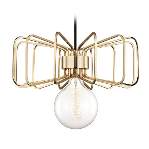 Mitzi by Hudson Valley Mid-Century Modern Pendant Light Brass Mitzi Daisy by Hudson Valley H132701-PB