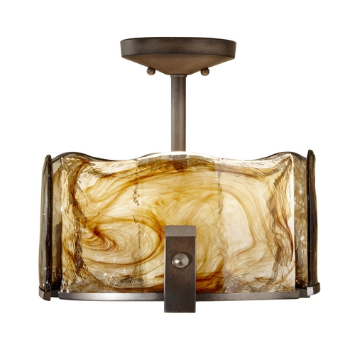 Feiss Lighting Modern Semi-Flushmount Light with Art Glass in Roman Bronze Finish SF299RBZ