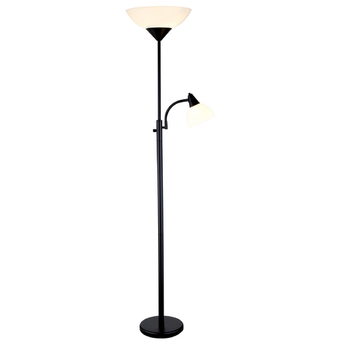 Adesso Home Lighting Adesso Piedmont Torchiere Floor Lamp with Reading Lamp in Black Finish 7202-01
